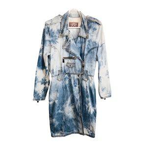 Vintage 90s Denim Dress Jacket Tie Dye Acid Wash M